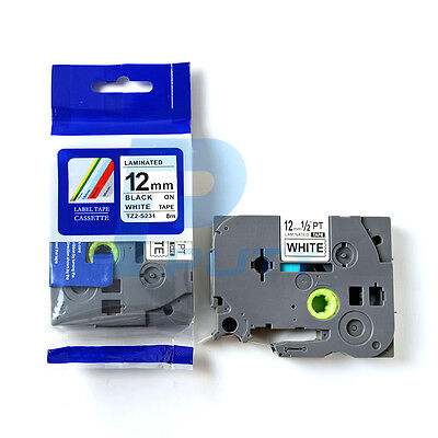 2PK Compatible P-touch TZe-S231 TZ-S231 Black on White Laminated Label Tape 12mm