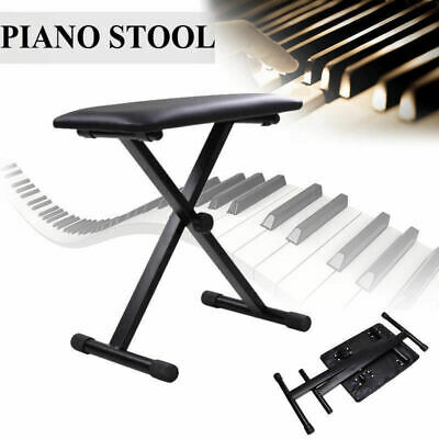 New Portable Adjustable Folding Keyboard Piano Stool Seat Bench Black AU Stock