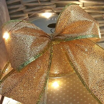 Wired Gold Glitter Christmas Ribbon Glittery Xmas Cake Tree Sparkly
