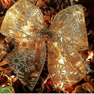 Wired Gold Glitter Snowflake Design Christmas Ribbon. Xmas Cake Wreath Tree 63mm