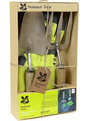 National Trust Gardening Gift Set with Rigger Gloves, Hand Fork and Trowel