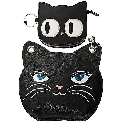 Womens Cute Black Kitty Cat Face Wallet Coin Purse Emo Goth Kawaii Gift UK
