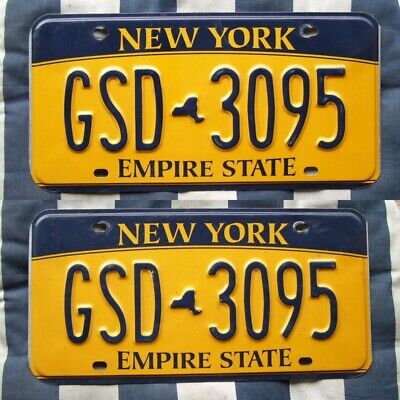 Pair Of New York American License Number Plate #ny-Pair