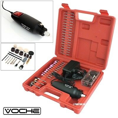 Voche® Mini Rotary Hobby Drill Kit With 60 Accesories Grinder Burrs Bits + Case