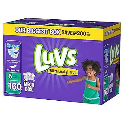 New 160ct Luvs Ultra Leakguard Disposable Baby Diapers Sz 6 (35+ LB) Save!!