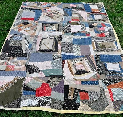 1910 Charming Country Style Crazy Log Pieced Antique Vintage Quilt – Child Sized