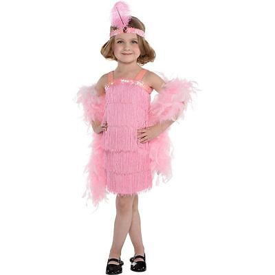 Girls Pink Flapper Costume Fancy Dress Roaring 20's Fringe Sequin