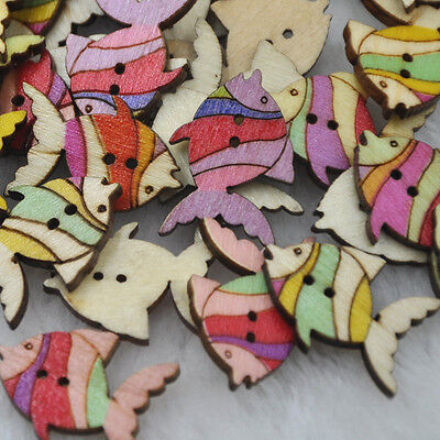 50pc Mix Fish Wood Buttons DIY Craft Scrapbook Sewing Appliques WB224