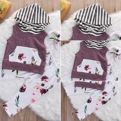 Floral Newborn Baby Boy Girl Hooded Tops Long Pants Leggings Clothes Outfits Set