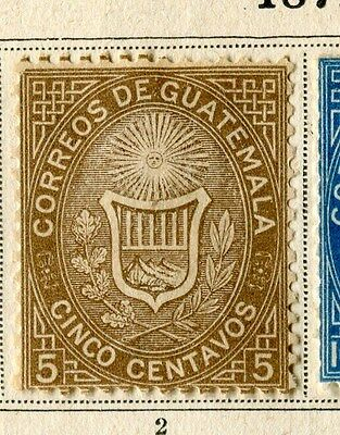 GUATEMALA;  1871 early classic issue fine Mint hinged 5c. value
