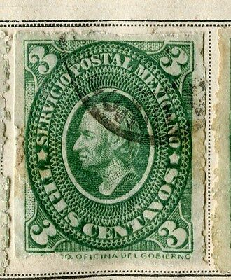 MEXICO;  1884 early classic issue fine used 3c. value