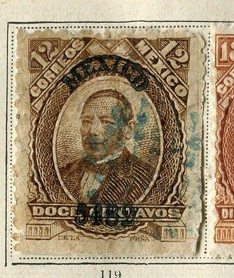 MEXICO;  1882 early classic issue fine used 12c. value