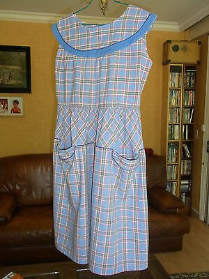 ANCIENNE ROBE TABLIER FILLE T 12 ans VINTAGE 50 GIRL COTTON DRESS APRON 12 yrs