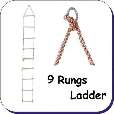 Rope Ladder - 9 Rung Pp Rope 3.4M Long - Swing, Climbing Frame, Tree Accessory