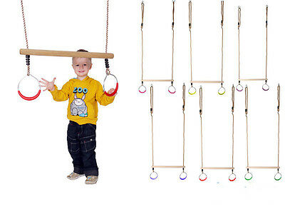 Wooden Trapeze With Round Gymrings Swing Kids Climbing Frame