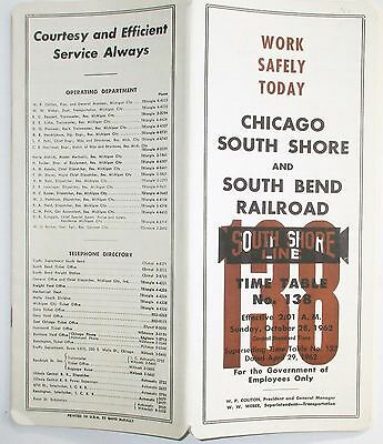 Chicago South Shore & South Bend Railroad 1962 Employee Timetable