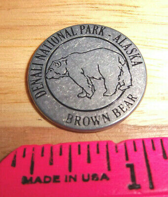 Denali National park 1 inch metal collector Token Grizzly one side, USGS marker