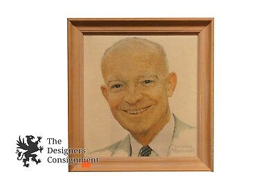 Vintage Dwight D Eisenhower Oil On Canvas Framed By Norman Rockwell