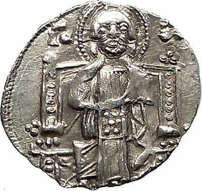 1268AD MEDIEVAL Venice Doge LORENZO TIEPOLO Silver Ancient Coin w CHRIST i57561