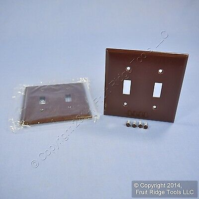 2 Cooper Brown 2-Gang Toggle Switch Cover Wallplate Plastic Switchplates 2139B