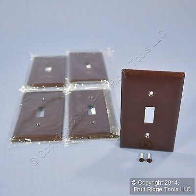 5 New Cooper Brown Standard 1-Gang Thermoset Switch Plate Wallplate Covers 2134B