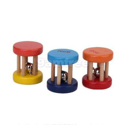 1 Classic WOODEN CAGE RATTLE BELL BABY kid Percussion musical TOY great gift NEW