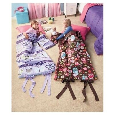 Little Girl's Sleeping Bag Set w/ Matching Doll's Sleepover Set Folds In Larger