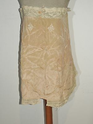 1930's Peachy Silk Crepe Step In Camisole / Teddy W  Lace MED
