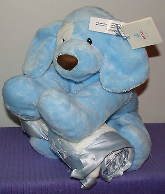 """Gund Spunky Loveable Hugs Blue 58986 12"""" Spunky Dog And Blanket 32"""" X 27"""" Nwt-Ds"""