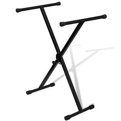 New Adjustable Music Single Braced Keyboard Stand X Frame Stool Steel Foldable
