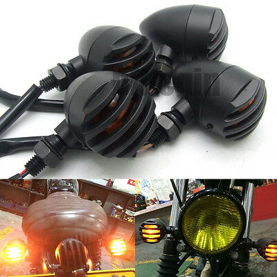 4 X Bullet Metal Motorcycle Turn Signals Indicator Light For Harley Cafe Racer