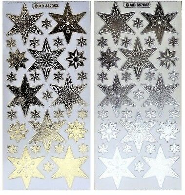 EMBOSSED CHRISTMAS STARS Peel Off Stickers Six Point Gold Silver Clear Sticker