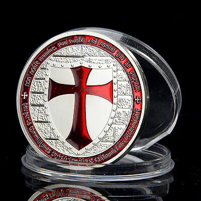 1PC Silver Iron Red Cross Sword Red Knight Commemorative Coin Collection Gift
