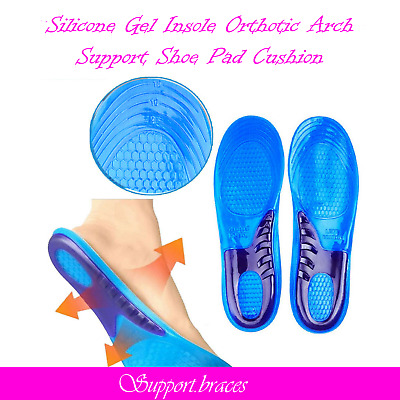 Silicone Gel Insoles Orthotic Arch Support Shoe Pad Sport Running Cushion 1 Pair