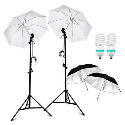 2x Reflector Black+Soft Umbrella+Stand Photo Studio Lighting Light  Mount AU