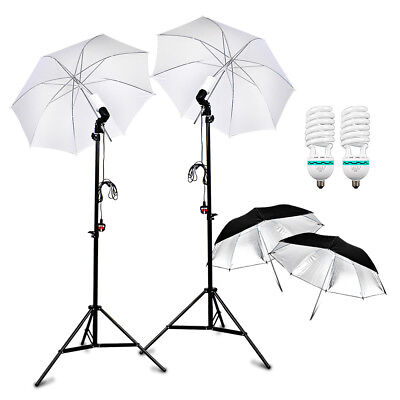 "2x 33""inch Soft Umbrella+ Black Silver Reflective+Holder Support Light Stand AU"