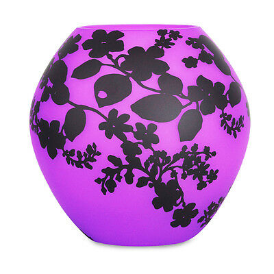 Modern Frosted Purple / Pink Glass Bedside Table Lamp Black Floral Pattern Light