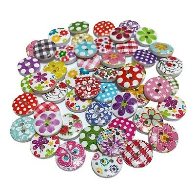 80 15mm WOODEN BUTTONS - RANDOM MIX - CRAFT - SCRAPBOOK - SEWING - CARDMAKING