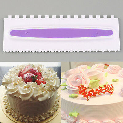 Plastic Sawtooth Shape Cake Cream Smoother Scraper Spatula Decor Tools DIY BX