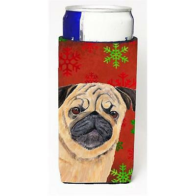 Pug Red and Green Snowflakes Holiday Christmas Michelob Ultra s for slim cans
