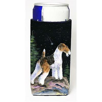 Starry Night Fox Terrier Michelob Ultra bottle sleeves For Slim Cans 12 oz.