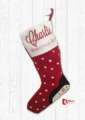 Personalised Christmas Stocking - Any Name Snowman Designs