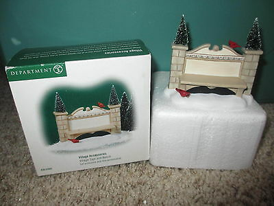 Dept 56 Village Accessories Sign and Bench
