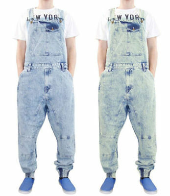 New Men Women Unisex G81 Cuffed Denim All in One Dungarees Overalls