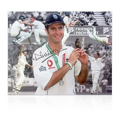 Michael Vaughan Signed England 2005 Ashes Photo Cricket