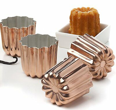 Pack of 4 Copper Tinned Interior Molds Cannele From Bordeaux French Custard Cake