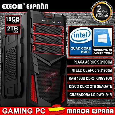 ORDENADOR NUEVO PC GAMING INTEL QUAD CORE 9,6GHz 16GB RAM 2TB HD HDMI USB3.0