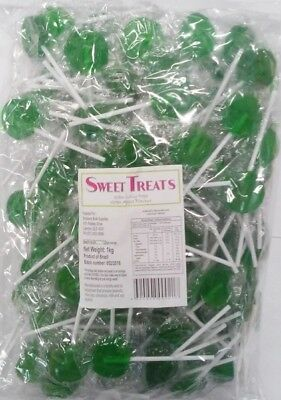Green Apple Flavoured Flat Lollipops 1kg (Pk 125 Approx.)