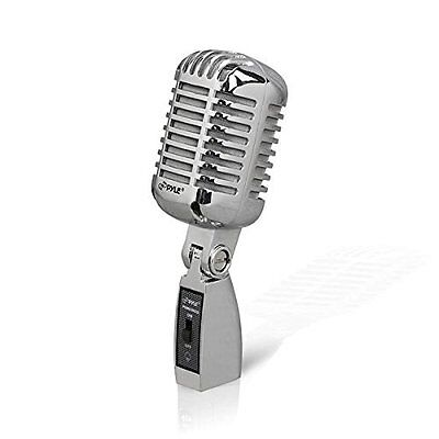 Microphone Dynamic Vocal Vintage Style Retro Silver by Pyle