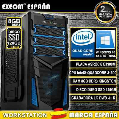 ORDENADOR NUEVO INTEL QUAD CORE 9,6GHz 8GB RAM 120GB SSD HD HDMI PC GAMING